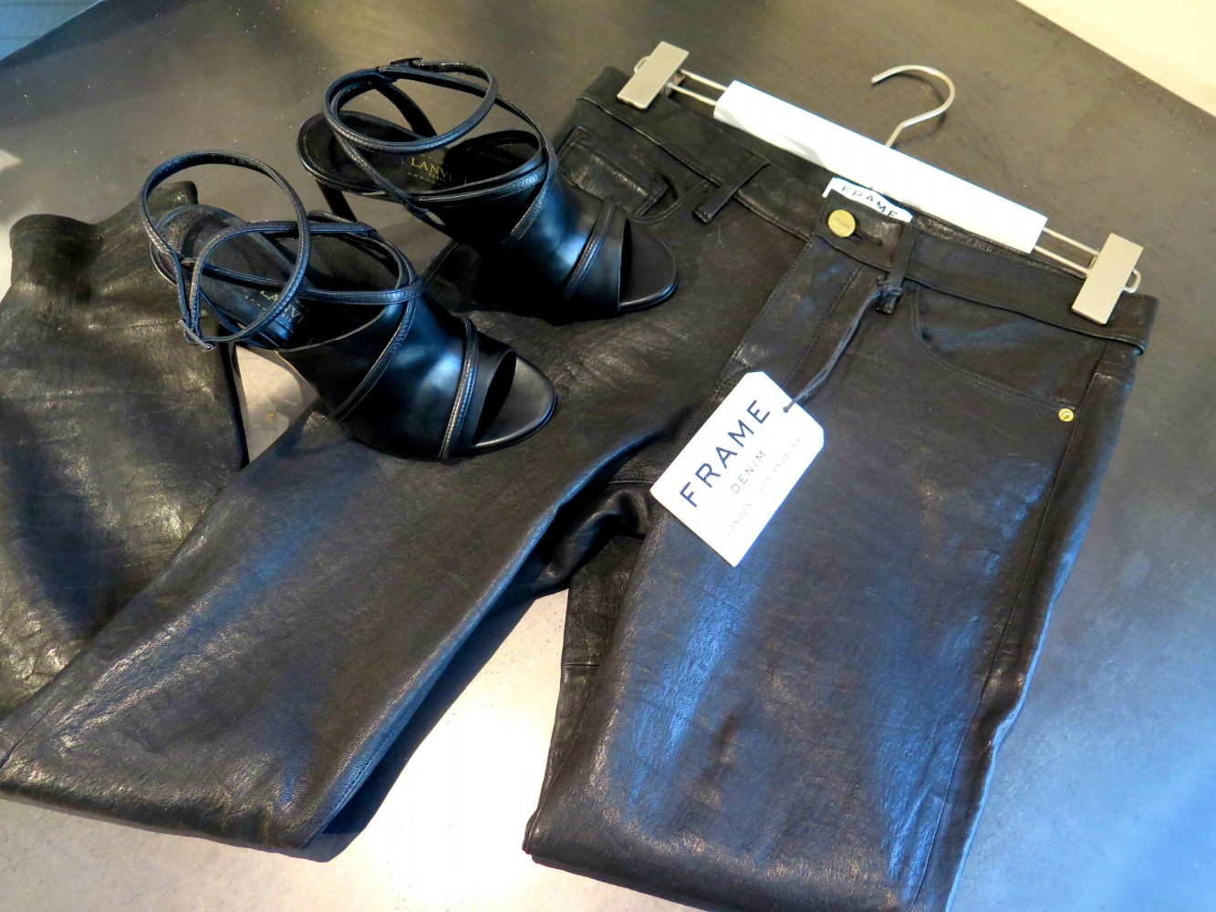 Lovely shoes from LANVIN and leather pants from Frame Denim