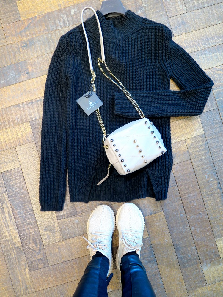 In love with this heavy knitwear piece from RICK OWENS MAGLIA TURTLE NECK SWEATER + LANVIN purse on 50% sale!