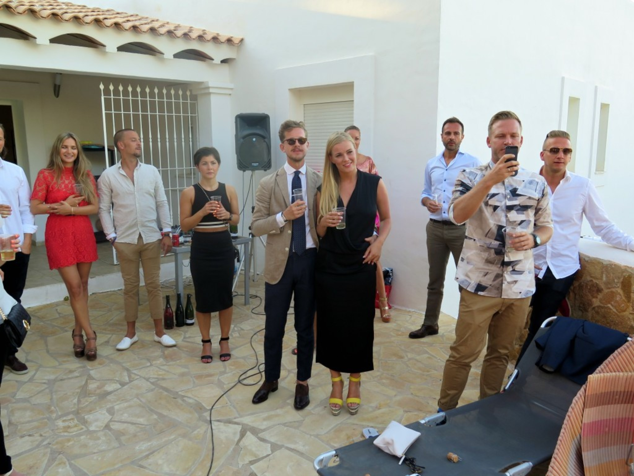 and finally the BIg BDAY BASH!!! Everyone is gathered for drinks before we headed off to El Ayoun Restaurant... Here Patski is holding a TOAST // Speech for Chris Stallion !!!!
